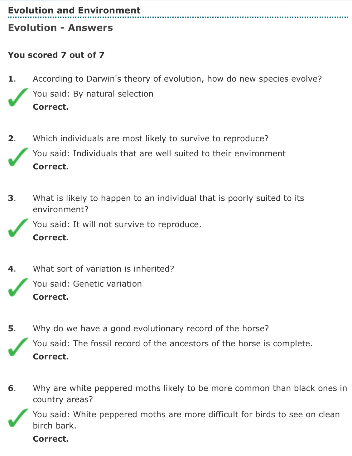 Natural Selection Multiple Choice Questions